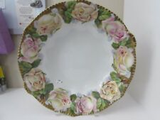 Royal Rudolstadt Prussia B Large Bowl Pink Roses Flowers Antique