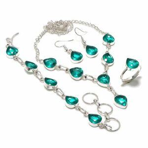 Swiss Blue Topaz Ethnic Handmade 925 Sterling Silver Jewelry Set