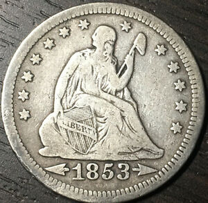 1853 Arrows And Rays Seated Liberty Quarter, Nice Even Wear