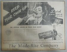 Dr. Pepper Ad: Keep Your Chin Up! Wartime Ad ! from 1940's Size: 12 x 16 inches