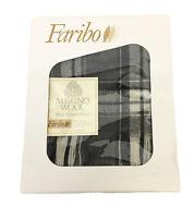 "NOS Vintage Faribo Marino Wool Plaid Black & White Siesta Throw/Blanket 50""x60"""