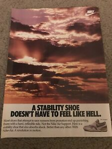 Vintage 1987 NIKE AIR SUPPORT Running Shoes Poster Print Ad REVOLUTION IN MOTION