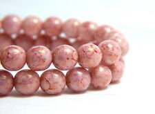 25 6mm Pink Round Czech Druk Beads Luster Finish High Quality Glass Beads D-D08
