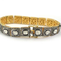 Natural Diamond Polki ,Rose Cut Diamond 18k Gold & 925 Sterling Silver Bracelet