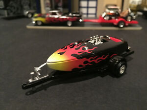 1:64 Hot Wheels Limited Edition Crackerbox Race Boat Black w/ Flames w/ Trailer