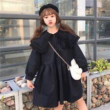 Lady Girl Lolita Lace Dress Vintage Loose Puff Sleeve Long Shirt Tops Cute Sweet