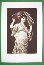 JAPANESE GIRL in Kimono Holding Huge Fan - Victorian Era Antique Print