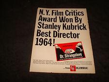 DR. STRANGELOVE 1964 Oscar ad Stanley Kubrick for Best Director, Peter Sellers