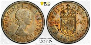 1964 GREAT BRITAIN ONE SHILLING PCGS AU58 ONLY 6 GRADED HIGHER WORLDWIDE TONED