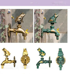 Outdoor Vintage Style Garden Wall Mounted Water Tap Brass Faucet Frog Animal