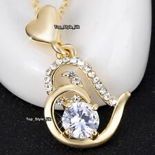 CHRISTMAS GIFTS FOR HER Gold Jewellery Heart Girls Necklace Mum Wife Ladies K5