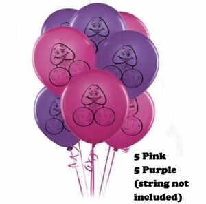 Pecker Willy Penis HENS NIGHT Pack of 5 Purple Balloons and 5 Hot Pink Balloons