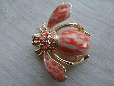 Joan Rivers Bee Tan And Orange Colored Epoxy Enamel  leopard pattern Brooch/Pin