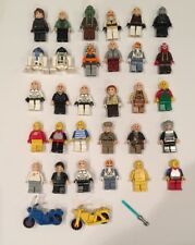 LEGO MINI FIGURE LOT Star Wars R2D2 Indiana Jones 30 figures 2 bike 1 lightsaber