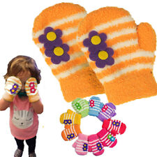 10PC LOT Orange Girls Toddler Soft Stretchy Micro-Fleece Mittens Striped Flower
