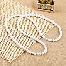 """Plain Wood Beads White Necklace 28"""" Long Hip-Hop Rosary Beaded Necklace Chain"""
