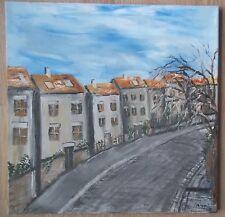 """Tableau peinture huile sur toile couteau """"rue maisons hautes"""" sign�� M.Gravier"""