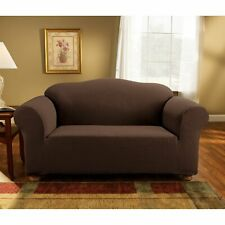 Sure Fit Sofa Slipcover Simple Stretch Subway Box Style Cushion Brown/Chocolate