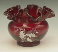 FENTON GLASS  RUBY RED RUFFLED VASE WHITE HOLLY BERRY CHRISTMAS VINTAGE