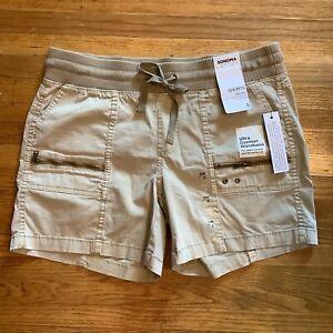 Sonoma Mid Rise Cargo Chino Shorts Size 6 - NWT- Elastic Waist Pull On Tan