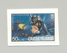Caicos #17 Fish, Shells, Scuba Diving 1v Imperf Proof on Card