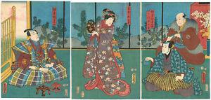 Genuine Original Japanese Woodblock Print Toyokuni III Triptych