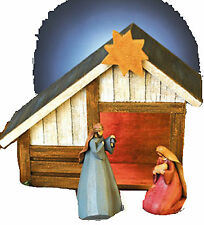 NEW~CHRISTMAS NATIVITY LIGHT DECORATION~MADE OF WOOD WITH FIGURINES