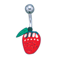 Wholesale 5pcs Stainless Steel Belly Ring with FIMO Polymer Strawberry