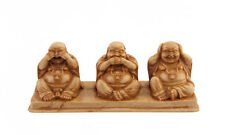 Statue 3  Bouddha chinois rieurs style trois singes de la Sagesse beige 3584 Z4