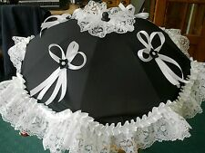 Black Parasol Hand Decorated with all White White Satin Ribbons and Lace.Romany