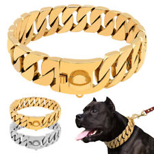 Heavy Duty Gold Dog Collar Luxury Choker Stainless Steel Dog Chain Collar 5 size