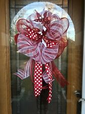 "17"" Whimsical Poinsettia Door Wreath Deco Mesh Bow Christmas Tree Topper Mailbox"