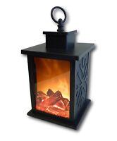 LED Laterne mit künstlichem Feuer Flamme Rauch Holzscheit Deko Kaminfeuer Lampe