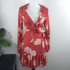 Billabong Women's Floral Wrap Long Sleeve Dress Ruff Girls Club NWT Size Small