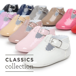 Newborn Infant Baby Girl Spanish Style Patent Pram Shoes Mary Jane Shoes 0-18 M