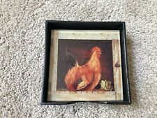 boxed set of 4 glass coasters with chicken / rooster pictures