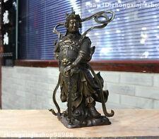 """16""""China Pure Bronze Veda Wei Tuo WeiTuo warrior Buddhism Tutelary Deity Statue"""