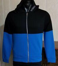 STUSSY Color Blocked Full Zip Hoodie Sweatshirt Pockets W/ Lt. Weight Hood Sz S