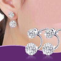 1Paar Damen Mode Schmuck Silber Double Beads Kristall Stud Geschenke Ohrringe!