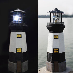 SOLAR POWERED LIGHTHOUSE ROTATING LED GARDEN LIGHT HOUSE DECORATION ORNAMENT