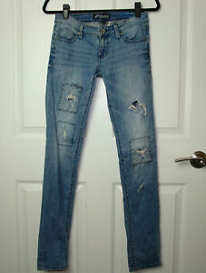 Women's Juniors Volcom Brand Jeans Distressed Light Wash Super Skinny Jeans 26/3