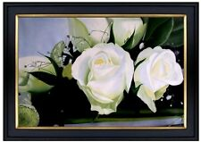 Framed, Still Life with White Roses, Hand Painted Oil Painting 24x36in