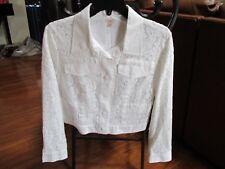 NEW Reba Shades of Spring White Lace Short Jacket Womens Size M $148