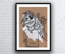 2D Gorillaz Drawing with Feel Good Inc. Lyrics - Signed Giclée Art Print A4 size