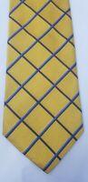 "Brooks Brothers Neck Tie Silk Golden Yellow 3.75 inches X 57"" Diamond Stripe USA"