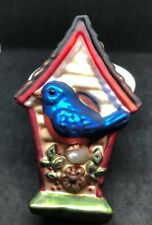 Midwest of Cannon Falls Mercury Glass Blue Bird House In Box Christmas Ornament