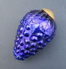 Ancienne boule de noël pardon verre églomisé 16 cm Grapes raisin blue bleu 2