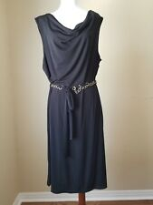Womens Heart 2 Heart Dress Black Knit Size 2X Poly/Spandex with Chain Belt