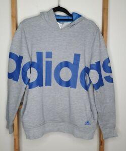 Adidas Grey Blue Logo Hoodie Youth Size 13-14
