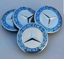 4x Mercedes Benz Alloy Wheel Centre Caps 75mm Badges Blue Hub Emblem - Fits All